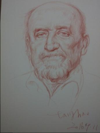 老人像素描