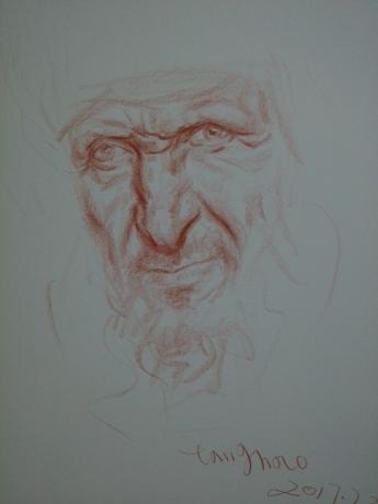 老人头像速写