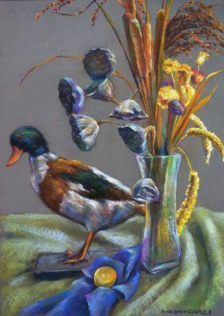 有鸭子和干花的静物