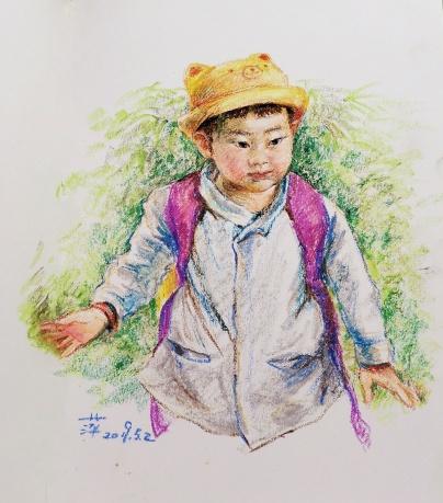 绿丛中的小孩