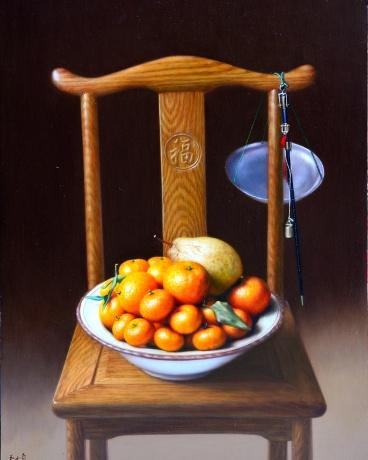 《木椅与水果》60x80cm2015年1月作