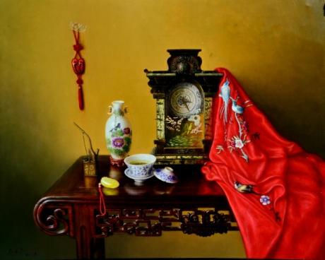 《茶与丝绸》100x80cm油画2015年7月作