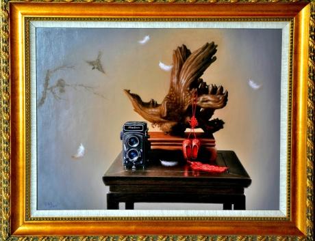 《老相机与鸟》60x80油画2015年4月创作