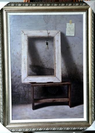 《清水房与画框》100x70cm油画2015年作