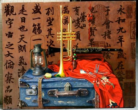 《灯。箱与小号》100x80cm油画2014年4月作
