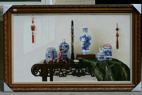 《平安。步步(青花瓷之一)》140x80cm2014年作