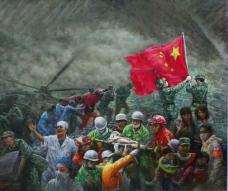 《众志成城》140x120cm油画2008年6月创作