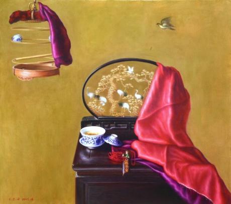 《茶与丝绸(二)》60x80cm油画2015年作
