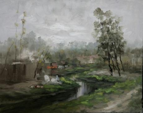 《成都小沙河-琉璃埸写生》40x50cm2017年3月作