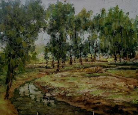 《琉璃埸小沙河写生》,布面油画,50x60cm,2017年5月