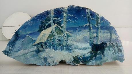 树桩上的油画风景