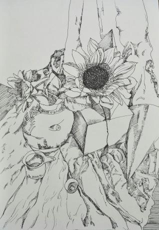 插有向日葵的静物
