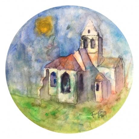 水彩:梵高的教堂