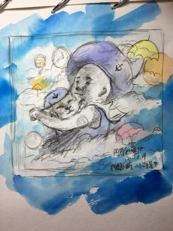 水彩构图手稿《小海军》