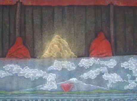 张润萍国画《僧侣》