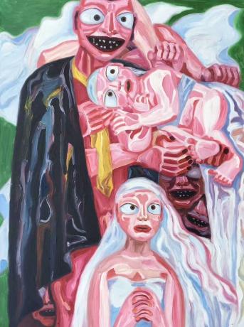 张润萍油画《洁白的纱》