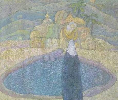 张润萍国画《椰枣树》