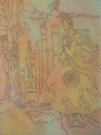 张润萍国画《千古之梦》