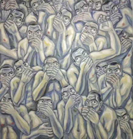 张润萍油画《噓一一》