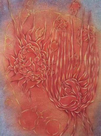 张润萍国画《日月的倾诉》