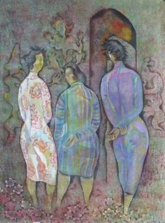 张润萍国画《母亲》
