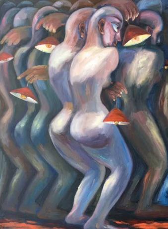 张润萍油画《寻路》