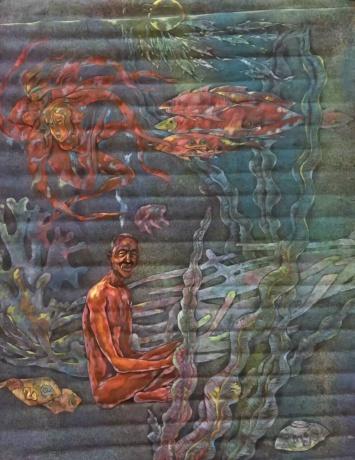 张润萍国画《老人与海》