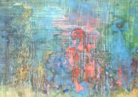 张润萍绢本国画《鬼母子》