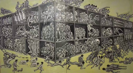张润萍油画《午夜图书馆》