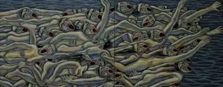 张润萍油画《驶离的方舟》