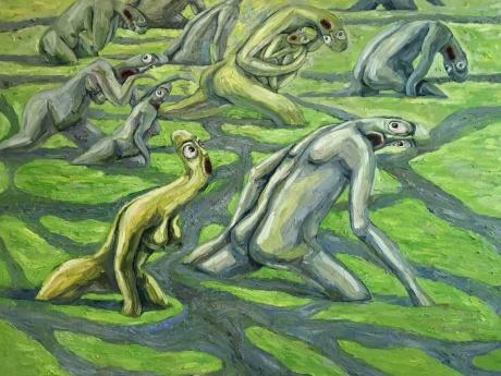 张润萍油画《世上的道路曲曲弯弯》