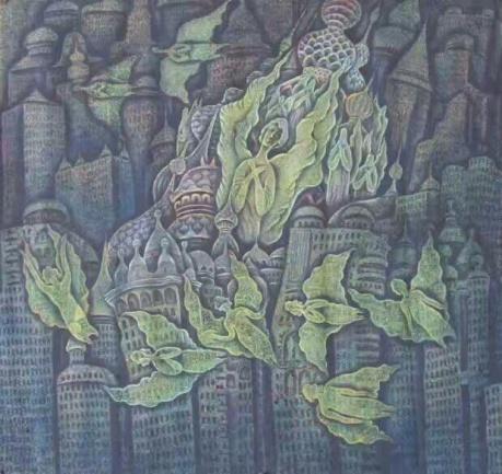 张润萍国画《教堂2》