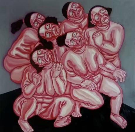 张润萍油画《长着红眼睛的雪》