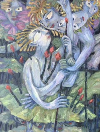庞振勇油画《静待花开》