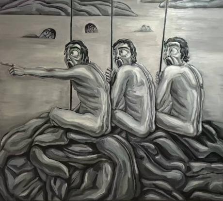 张润萍油画《专属区域》