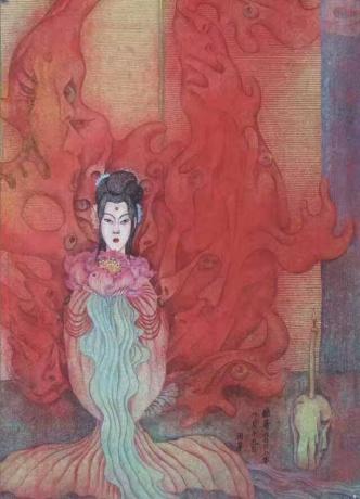 张润萍绢本国画《酷暑》