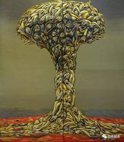 张润萍油画《蘑菇云》