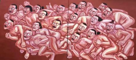 一张润萍油画《冲》