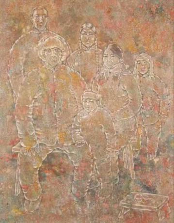张润萍绢本国画《那个年代》