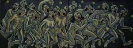 张润萍油画《出乐园》