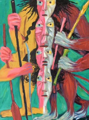 庞振勇油画《摸不到头的脸》