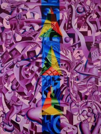 庞振勇油画《穿越之城》
