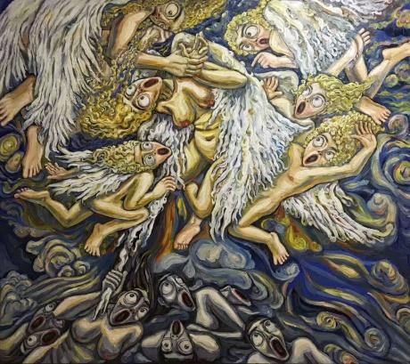 张润萍油画《泥淖天使》