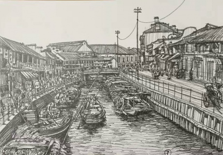 张润萍上海滩系列速写