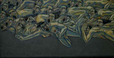 张润萍油画《飞越汩罗江》