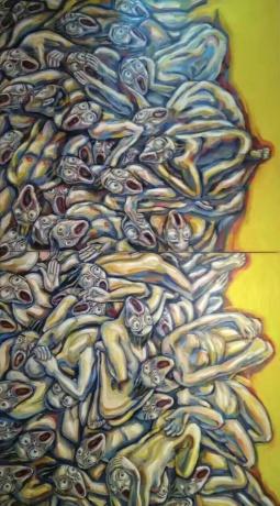 张润萍油画《裂变1945》