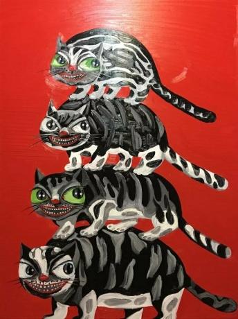 张润萍油画《大坏猫》