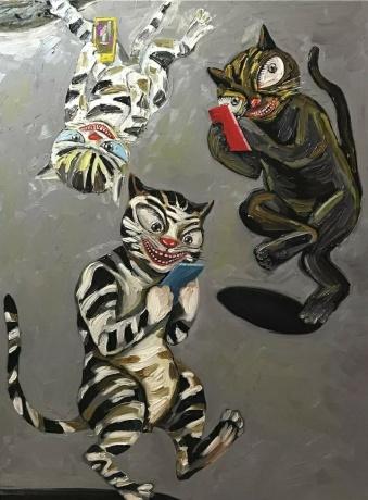 张润萍油画《朋友圈》