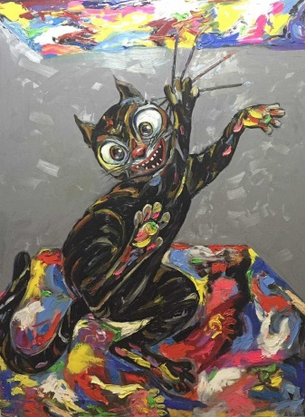 张润萍油画《大艺术家》