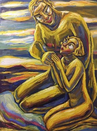 张润萍油画《自我与本我的会见》